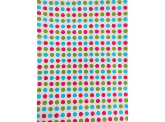Látka-bavlna-potisk-puntík barevný-bílá