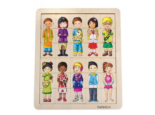 Puzzle dřevěné-Match&Mix-děti