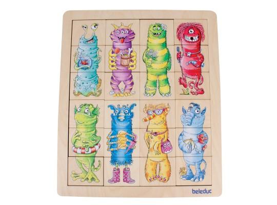 Puzzle dřevěné-Match&Mix-příšerky
