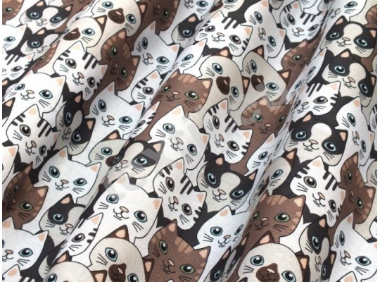 Látka dekorační-bavlna-š.150x100cm-potisk-kočka-mourovatá-hnědá/bílá
