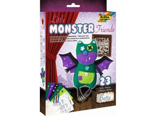 Sada kreativní-šití-Little Monster Friends-Batty-23x23cm-23dílů