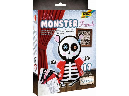 Sada kreativní-šití-Little Monster Friends-Scraggles-18x25cm-17dílů