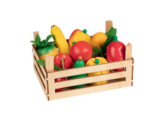 Ovoce a zelenina v dřevěné přepravce
