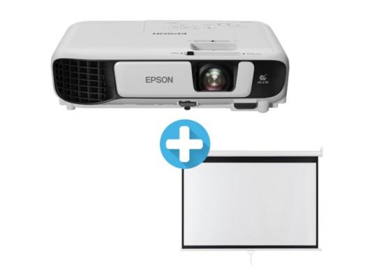 Projektor-3LCD Epson-EB-W42-WXGA3600-Ansi 15000:1-WiFi+plátno Aveli-200x125