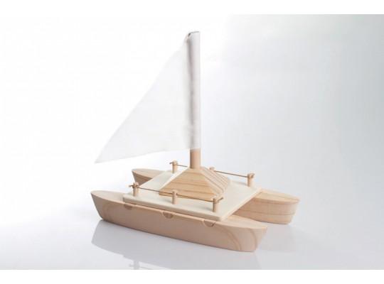 Loď dřevěná-skládačka-17,5x10x17,5cm