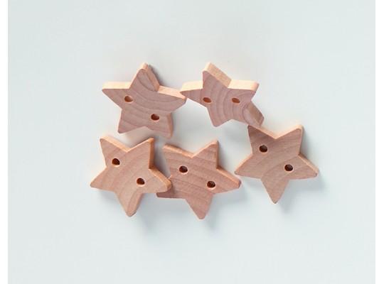 Knoflík dřevěný-hvězda
