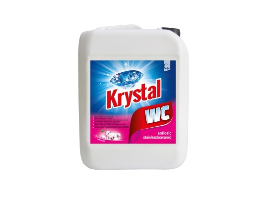 WC čistič Krystal kyselý nerez-keramika-růžový-kanystr