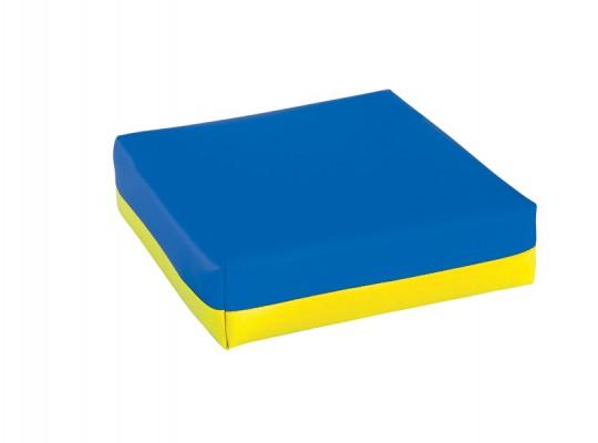 Polštářek sedací-koženka-28x28x5cm-modrá/žlutá