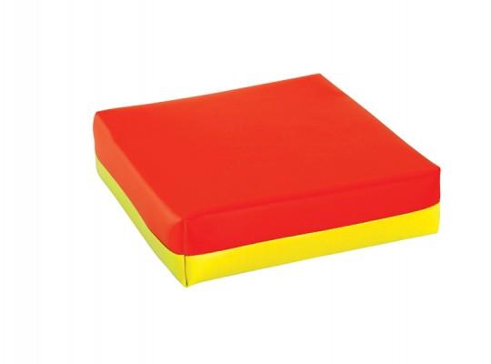 Polštářek sedací-koženka-28x28x5cm-červená/žlutá