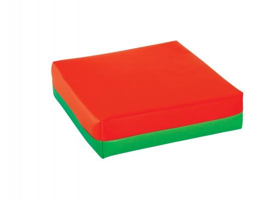 Polštářek sedací-koženka-28x28x5cm-červená/zelená