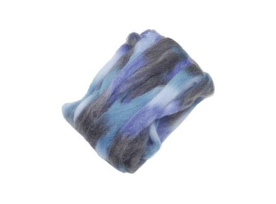 Vlna ovčí melírovaná-modrá