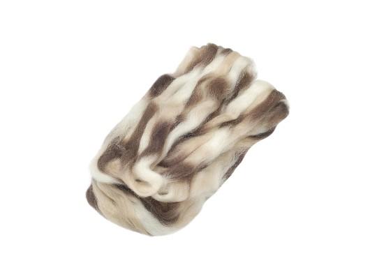 Vlna ovčí melírovaná-hnědá/béžová/přírodní