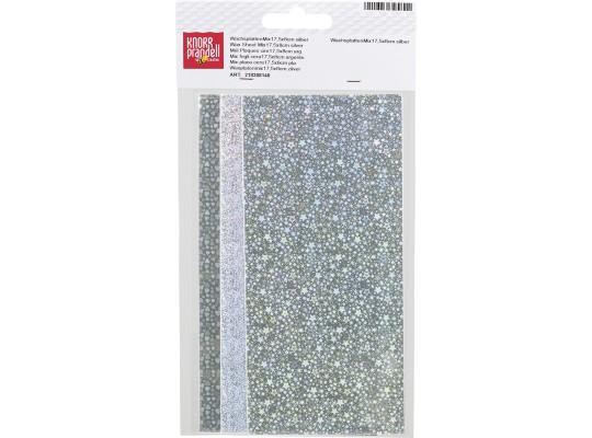 Plát voskový-17,5x8cm-stříbrný-holografický