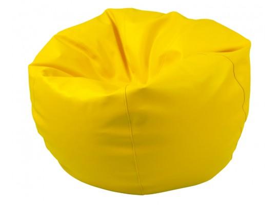 Sedací vak z koženky-žlutý-pr.80cm-koule