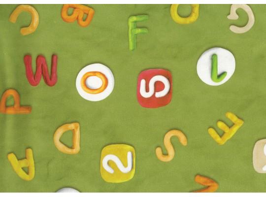 Látka potahová-bavlna-š.280cm-potisk-abeceda-zelená