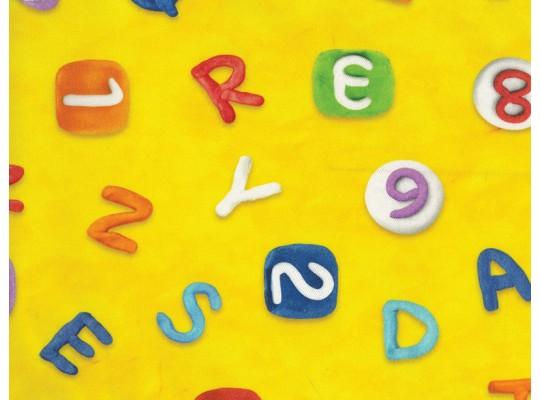Látka potahová-bavlna-š.280cm-potisk-abeceda-žlutá