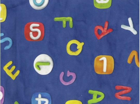 Látka potahová-bavlna-š.280cm-potisk-abeceda-modrá