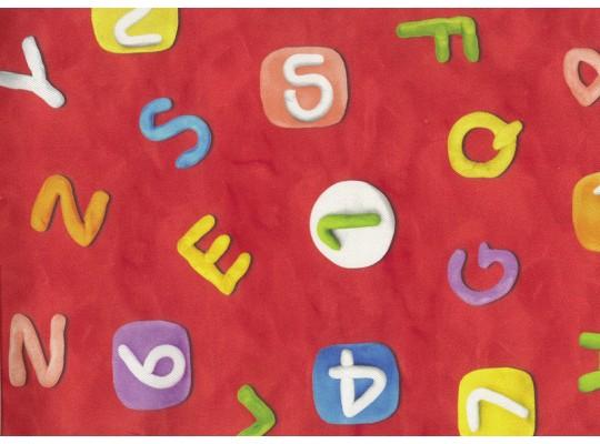 Látka potahová-bavlna-š.280cm-potisk-abeceda-červená
