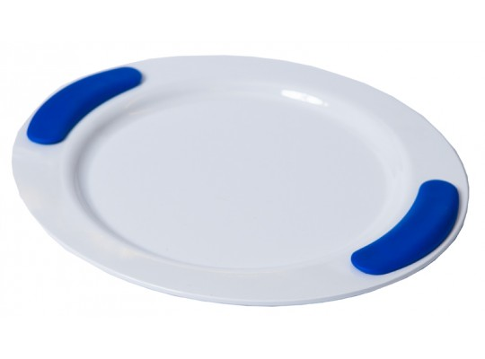 Talíř mělký-Ornamin-melamin- bílý/úchop modrý-25cm