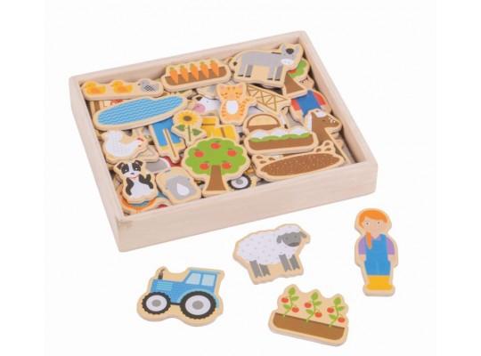 Magnet dřevěný-farma-BigJings Toys-35dílků