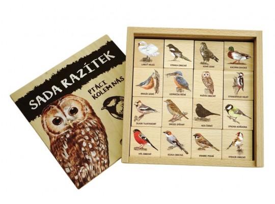 Razítka dřevěná-Ptáci