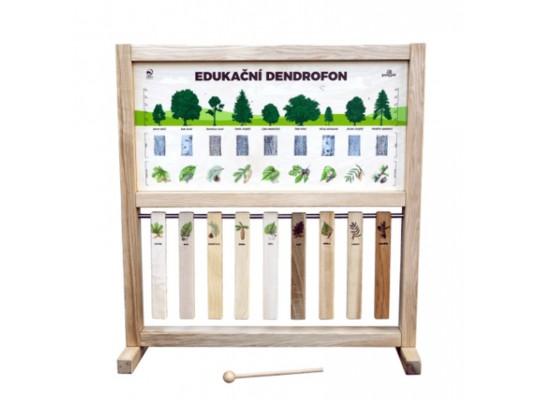 Tabule informační/naučná-dřevěná-stolní-Dendrofon s paličkou -zvuk dřeva