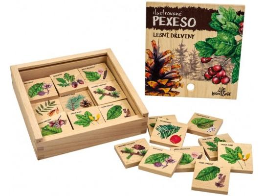 Pexeso dřevěné naučné/edukativní-Dřeviny