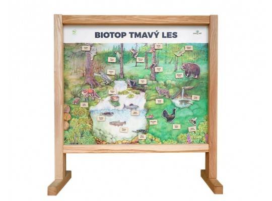 Tabule naučná/informační-dřevěná-stolní-Biotop s magnety-les