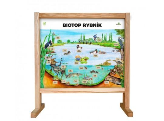Tabule naučná/informační-dřevěná-stolní-Biotop s magnety-rybník
