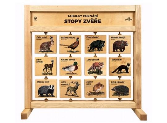 Tabule naučná/informační-dřevěná-stolní-Stopy zvířat