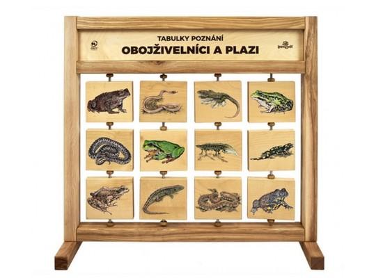 Tabule naučná/informační-dřevěná-stolní-Obojživelníci a plazi
