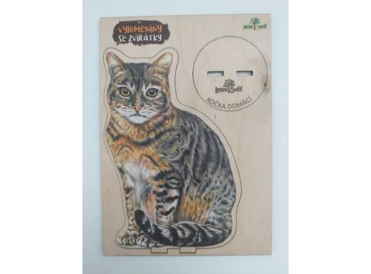 Deska z překližky-tvar vylamovací-Kočka domácí