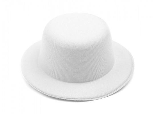 Klobouček dekorační-pr.13,5cm-polyester-bílý