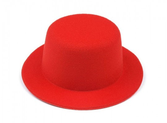 Klobouček dekorační-pr.13,5cm-polyester-červený