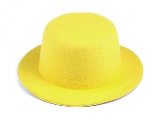 Klobouček dekorační-pr.13,5cm-polyester-žlutý
