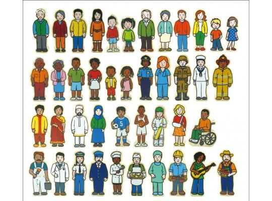 Figurka dřevěná-obyvatelé města-42ks