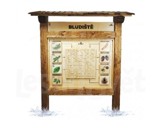 Prvek edukativní-Tabule naučná/informační-dřevěná-venkovní-Bludiště