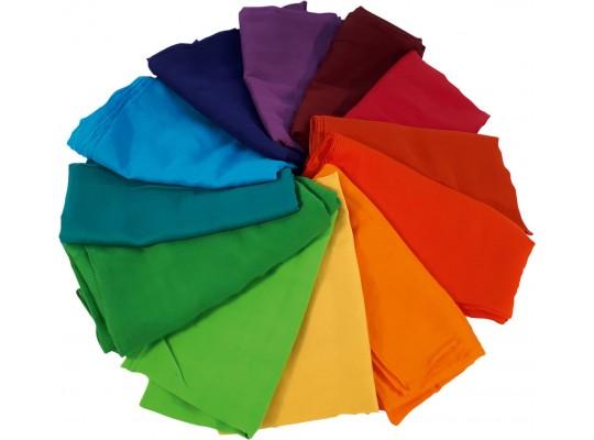 Duhový svět-Montessori-šátek bavlněný-barevný-80x80cm-12ks