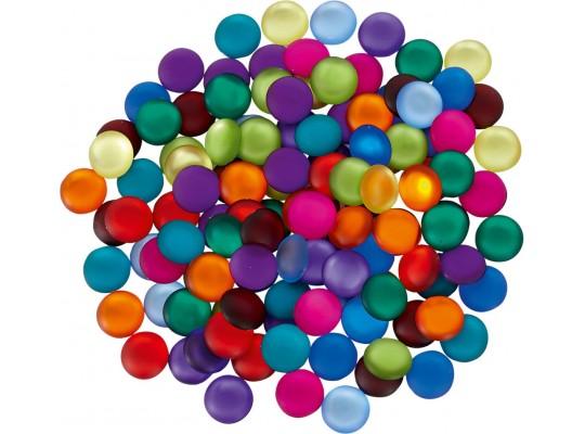 Duhový svět-Montessori-kamínek/nuget plastový-barevný-matný-pr.2,2cm-120ks