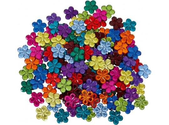 Duhový svět-Montessori-kytička plastová-třpytivá-pr.2,5cm-120ks